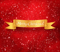 Christmas banner on red background gold ribbon with garland glowing watercolor with falling snow Stock Image