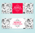 Christmas banner. Vector hand drawn illustration Xmas plants and
