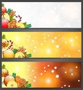 Christmas banners with apples, and decorations Royalty Free Stock Photography