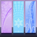 Christmas banners in cold colors with snowflake design vector template Royalty Free Stock Images