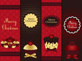 Christmas banners with cupcake Stock Photography