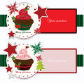 Christmas banners with cupcake illustration background Stock Image