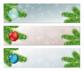 Christmas banners with decorated balls banner set colorfull Royalty Free Stock Photo