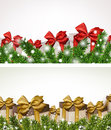 Christmas banners with fir branches gift boxes backgrounds twigs and vector Stock Photo