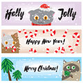 Christmas banners with funny cats. Cute kittens New Years background collection. Cartoon holiday template for your design. Royalty Free Stock Photo