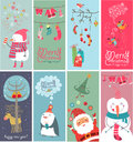 Christmas banners with funny characters Stock Images
