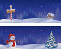 Christmas banners night snowy with a snowman and a north pole sign Royalty Free Stock Photos
