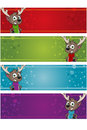 Christmas banners reindeer different coloured with a some clip masking applied Stock Photo