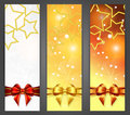 Christmas banners with ribbon and stars Stock Photos
