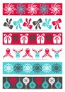 Christmas banners set of six colored ornamental pattern Stock Photos