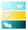 Christmas banners three with xmas balls Stock Photography