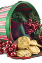 Christmas Basket with Cookies Stock Images
