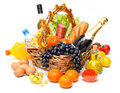 Christmas basket of goods Stock Images