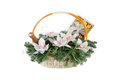Christmas basket on white background Stock Photography