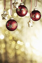 Christmas baubels and copyspace selective focus Stock Photos