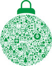 Christmas bauble decoration illustration of green filled with festive signs white background Stock Photos