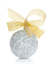 Christmas bauble with gold ribbon Royalty Free Stock Photo