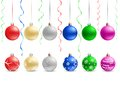 Christmas bauble the multicolored and ribbons on the white background Stock Photo