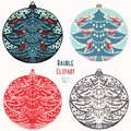 Robin red breast Christmas bauble ornament set. Isolated festive design element. Hand draw winter holiday clip art icon. Festive
