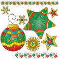 Christmas bauble, stars and trims Stock Images