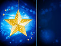 Christmas bauble template with sample text cao star over a glowing blue background panel and Royalty Free Stock Image