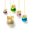 Christmas baubles balls decorated with gold bow collection on white background Stock Photo