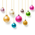 Christmas baubles balls hanging with gold ribbon collection on white background Stock Photo