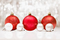 Christmas baubles with bokeh of party llights Stock Image