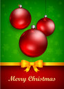 Christmas baubles and bow decoration golden vector illustration Stock Photos