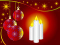 Christmas Baubles and Candles Stock Photo