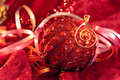 Christmas baubles on the colorful background Stock Photography