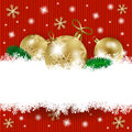 Christmas baubles and copy space on knitted background Royalty Free Stock Photo