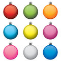 Christmas baubles different colors and patterns isolated on white background vector objects Royalty Free Stock Photography