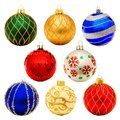 Christmas baubles eight unique bauble decorations isolated on white Royalty Free Stock Photos