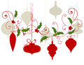 Christmas baubles flourish hanging border berries and holly Stock Photos