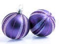 Christmas baubles holiday in purple and silver with copy space Stock Photography