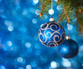 Christmas baubles with lights in the background very shallow depth of field Stock Photography