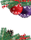 Christmas baubles with pine cone ornaments red berries and fir tree branches on white background Stock Image