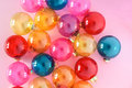 Christmas baubles on pink background. Creative decoration. Top view Royalty Free Stock Photo