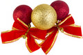 Christmas baubles with red bows Royalty Free Stock Photo