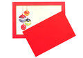 Christmas baubles red card greetings with isolated Stock Photos
