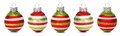 Christmas baubles in a row isolated