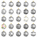 Christmas baubles silver pack on white background Royalty Free Stock Photo