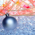 Christmas baubles silver on winter ice Royalty Free Stock Photo