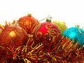 Christmas baubles and tinsel Stock Photo