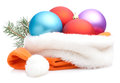 Christmas Baubles in Traditional Santa Hat Royalty Free Stock Photo