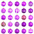 Christmas baubles violet pack on white background Royalty Free Stock Photo