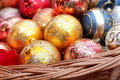 Christmas baubles in wicker basket Stock Images