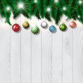 Christmas baubles on wood Stock Photo