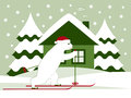 Christmas bear skier and cottage Royalty Free Stock Images